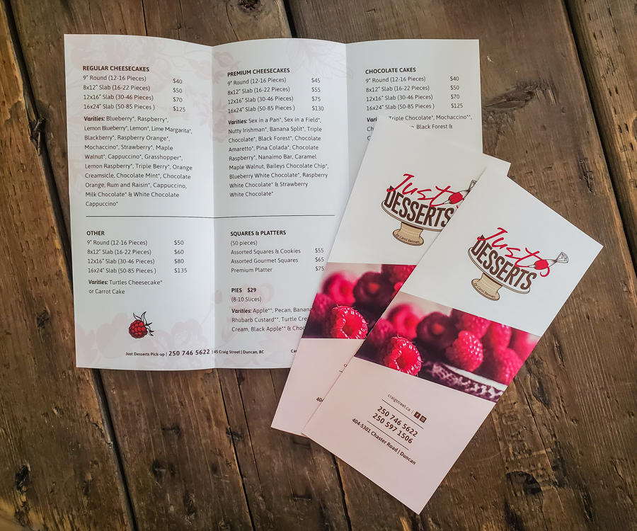 Just Desserts Brochure Design and Printing