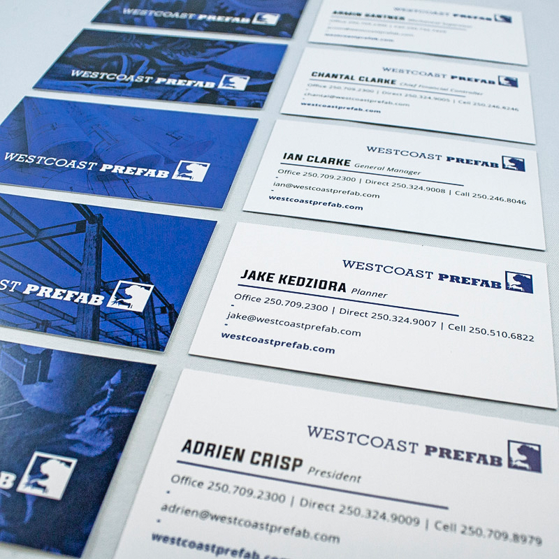 West Coast Prefab Business Cards Design and Printing